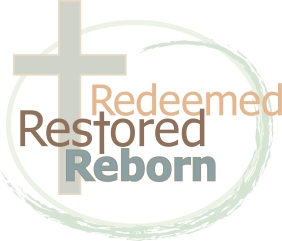 Image of Cross with words Cross - Redeemed restored reborn