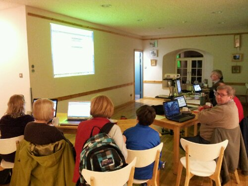 Photo of web training session in Church cafe