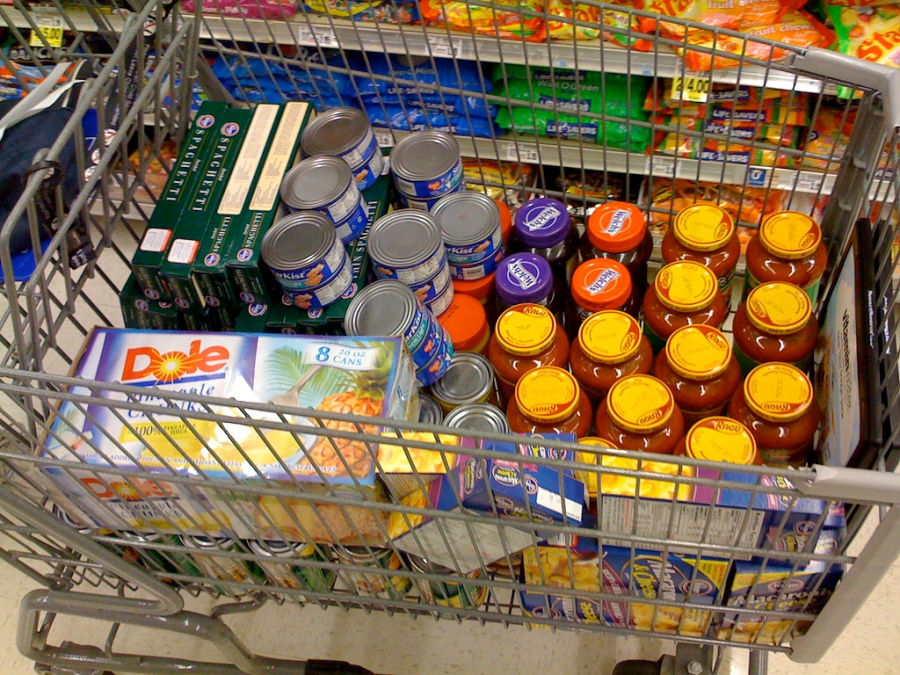 Photo of trolley filled with food for a foodbank
