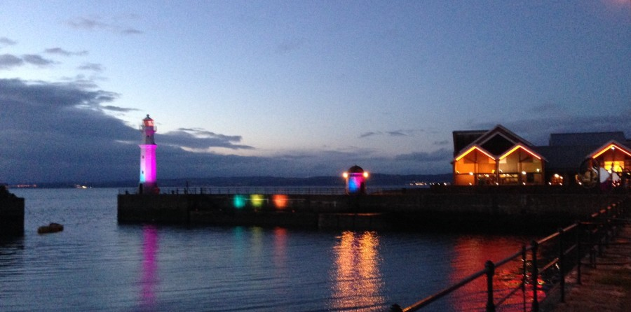 Newhaven Harbour lit up for Bow Tow festival