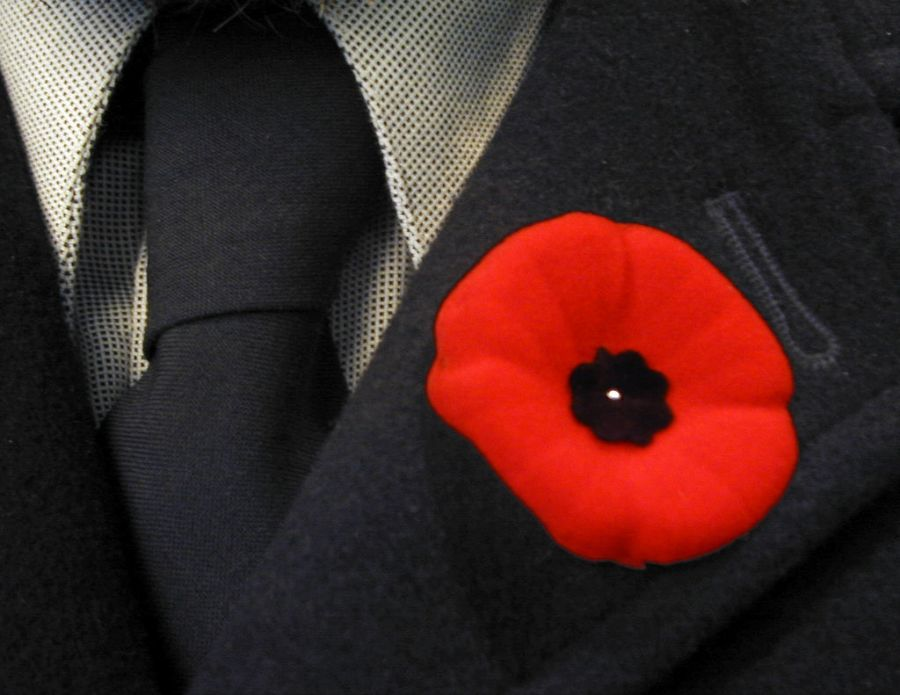 Photo of red poppy on suit lapel
