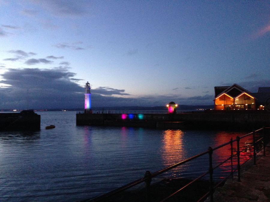 Photo of Newhaven Harbour lights during Bow Tow festival 2014