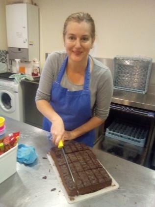 Freshly baked chocolate fudge cake!